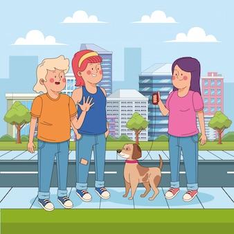 Chica adolescente de dibujos animados con un perro y amigos en la calle