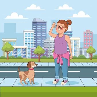 Chica adolescente de dibujos animados con un perro en la calle