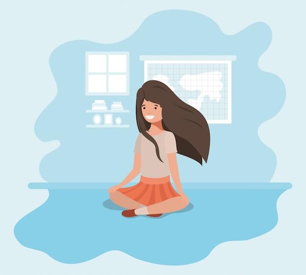 Chica adolescente sentada personaje de avatar