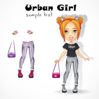 Chica adolescente urbana en jeans