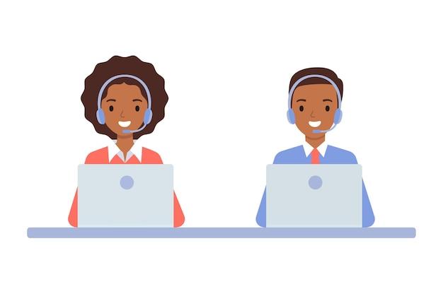 Chica afroamericana y chico con auriculares, el concepto de un centro de llamadas y atención al cliente en línea. ilustración de vector de estilo plano.