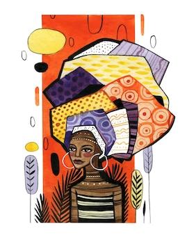 Chica afroamericana sobre un fondo de franja vertical naranja