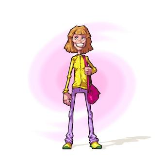 Chica alegre en estilo de dibujos animados