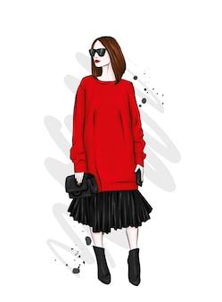Una chica alta y hermosa con piernas largas con una elegante falda, gafas, blusa y zapatos de tacón alto. Vector Premium