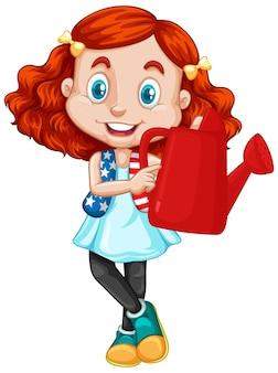 Chica americana sosteniendo regadera roja