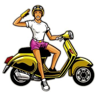 Chica andar en el scooter