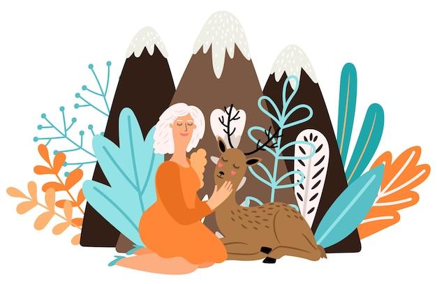 Chica con animal de ciervo. mujer bonita de dibujos animados con hermosos ciervos bebé en la ilustración del bosque