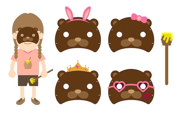 Chica animal fauna silvestre oso máscara traje fantasía fiesta conjunto