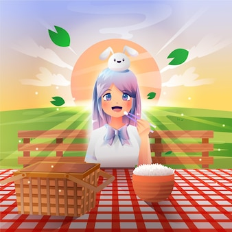 Chica anime degradado haciendo un picnic