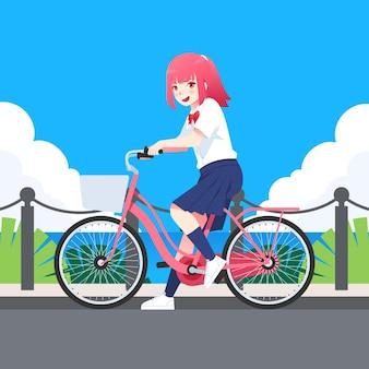Chica anime dibujada a mano montando en bicicleta