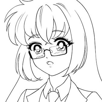 Chica anime linda sorprendida con gafas ilustración de vector de contorno de retrato de icono