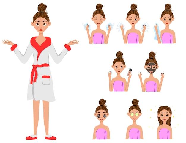 Chica antes y después de la ilustración de procedimientos cosméticos.