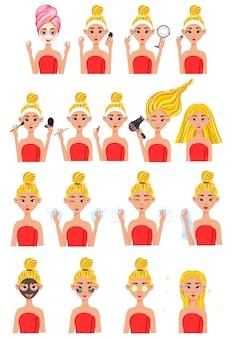 Chica antes y después de procedimientos cosméticos. estilo de dibujos animados ilustración.