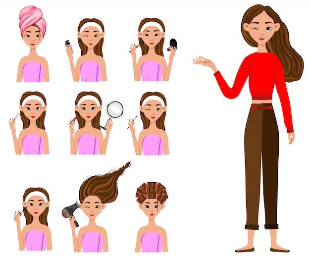 Chica antes y después de procedimientos cosméticos. estilo de dibujos animados