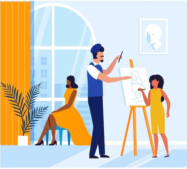 Chica aprendiendo pintura ilustración plana