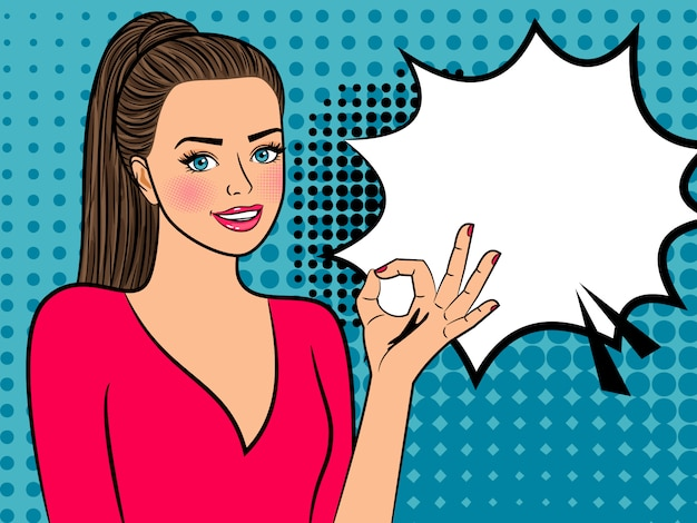 Chica de arte pop con signo aceptable y bocadillo de diálogo