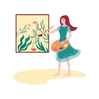 Chica de artista cosmético orgánico, fondo de hierbas naturales, aromaterapia médica, ilustración, en blanco. plantas verdes naturales, jabones aromáticos, terapias de salud, cuidados de belleza y spa