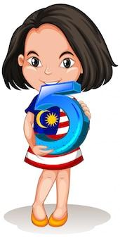 Chica asiática con matemáticas número cinco