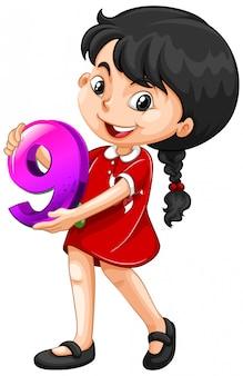 Chica asiática con matemáticas número nueve