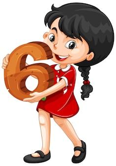 Chica asiática con matemáticas número seis