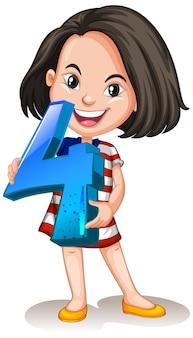 Chica asiática sosteniendo matemáticas número cuatro