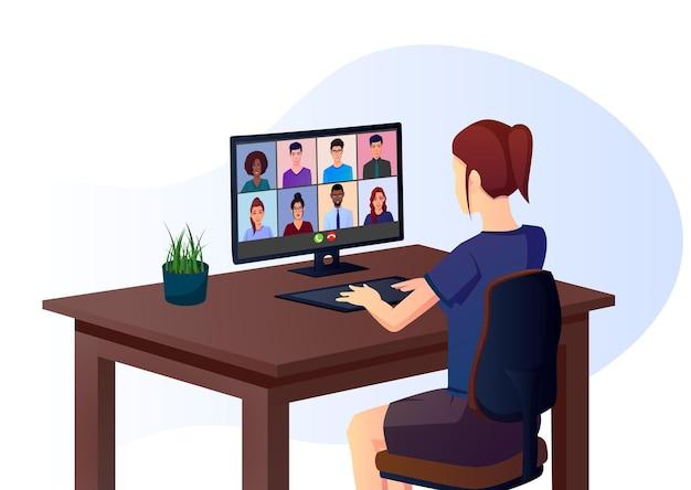 Chica asistiendo a reuniones en línea a través de llamadas grupales