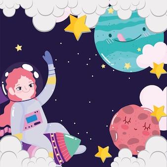Chica astronauta espacial en cohetes planetas nubes estrellas galaxia linda caricatura