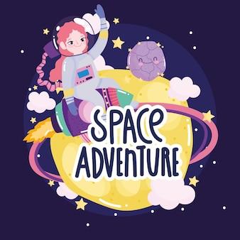Chica astronauta espacial en la nave espacial planeta luna explorar órbita linda caricatura