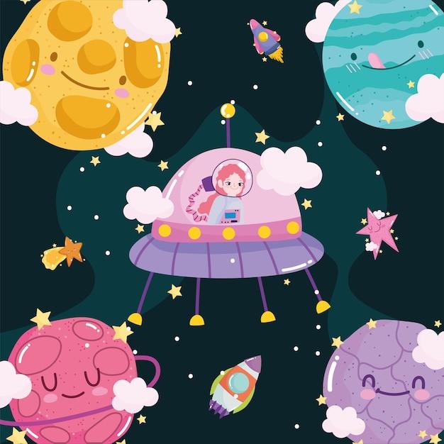 Chica astronauta espacial en ovni cohete sol planetas aventura dibujos animados lindo