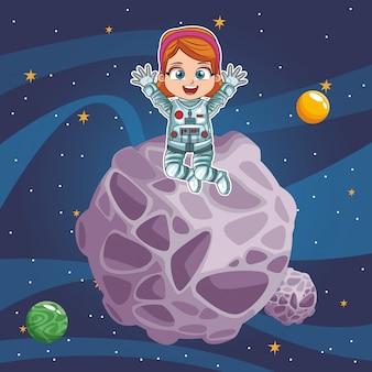 Chica astronauta en el espacio.