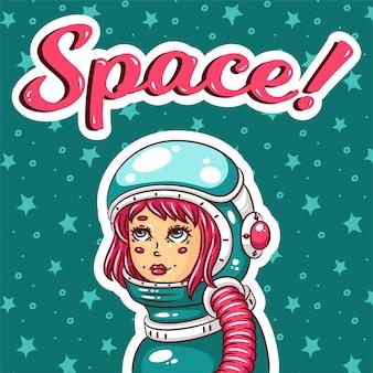 Chica astronauta en traje espacial.