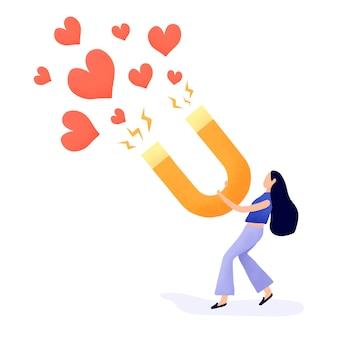 Chica atrayendo más seguidores de vectores