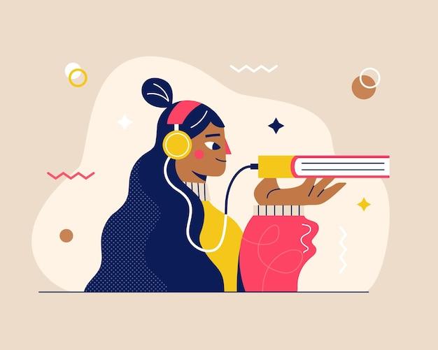 Una chica en auriculares escucha audiolibro. biblioteca de libros de audio. concepto de aprendizaje en línea, escuchando cursos educativos o lecciones de idiomas. concepto de e-learning y autoaprendizaje. educación en línea.