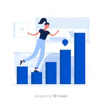 Chica azul con estadísticas estilo plano.
