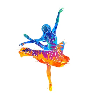 Chica bailando en concepto de acuarela