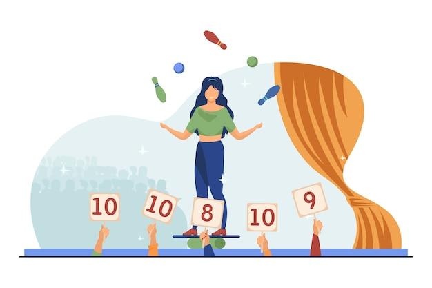 Chica balanceando y haciendo malabares con pelotas y bolos. juzga los signos ascendentes con puntuaciones ilustración vectorial plana. show de talentos, desempeño