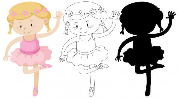 Chica de ballet con su contorno y silueta
