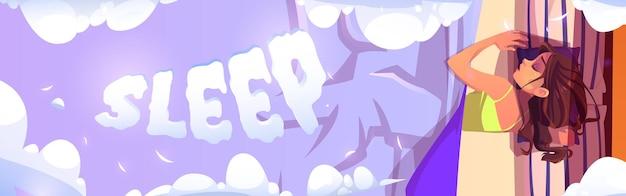 Chica de banner de dibujos animados de sueño de mujer joven acostado sobre almohadas en la cama