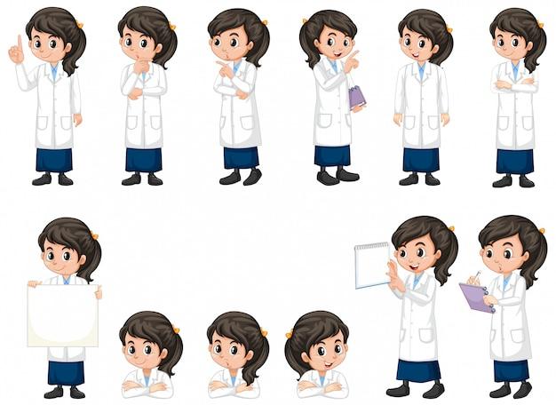 Chica en bata de ciencia haciendo diferentes poses sobre fondo blanco.