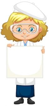 Chica en bata de ciencia
