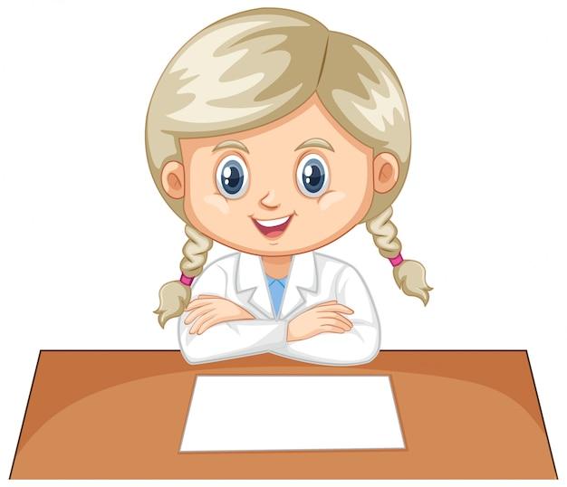 Chica con bata de laboratorio en blanco