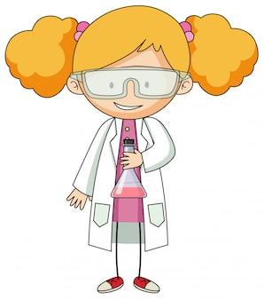 Chica en bata de laboratorio personaje