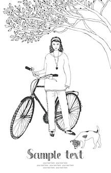 Chica y bicicleta