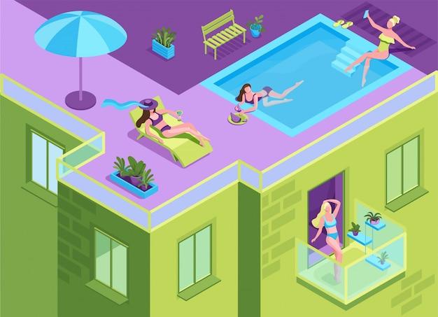 Chica en bikini tomando el sol en el techo del edificio residencial