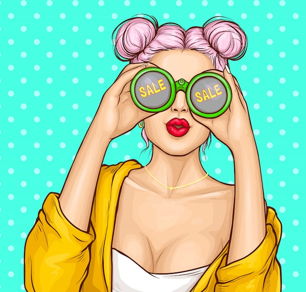 Chica con binoculares buscando venta.