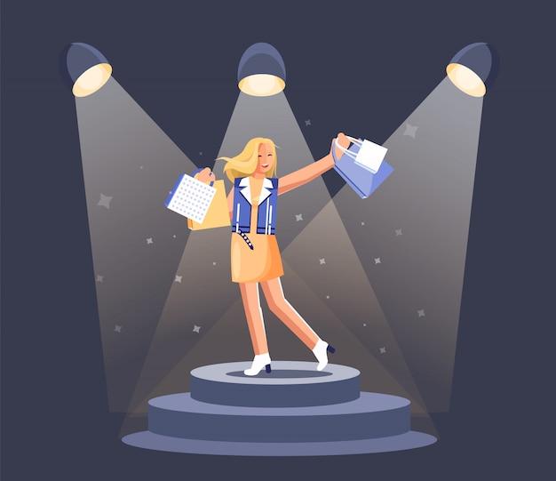 Chica con bolsa de compras en el podio con focos de fama e iluminación de niebla.