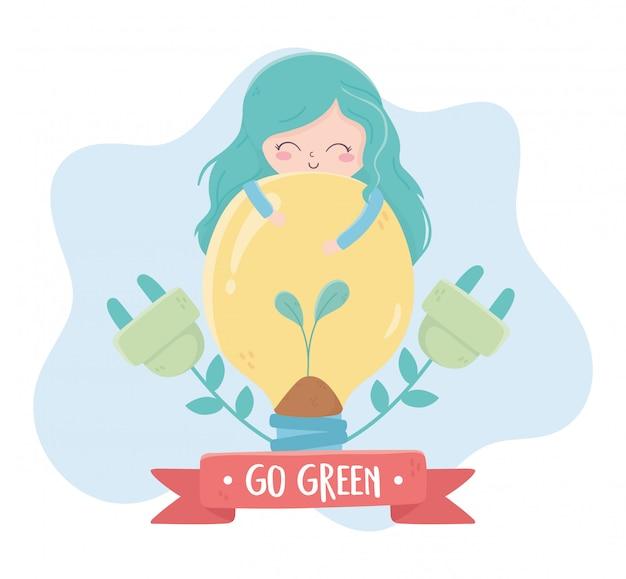 Chica bombilla enchufes ecología del medio ambiente vegetal