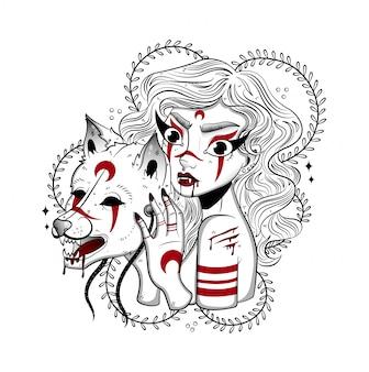 Chica del bosque en la máscara de un lobo en una cacería
