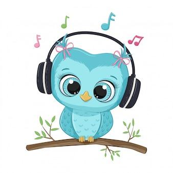 Chica de búho de dibujos animados lindo con auriculares escucha música