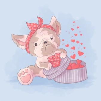 Chica de bulldog de dibujos animados lindo abre un regalo con corazones. ilustración acuarela